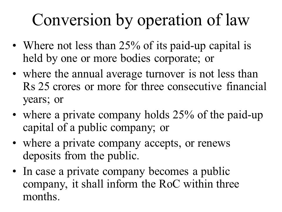 Conversion by operation of law
