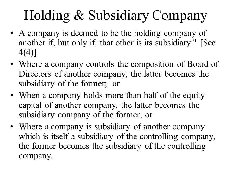 Holding & Subsidiary Company