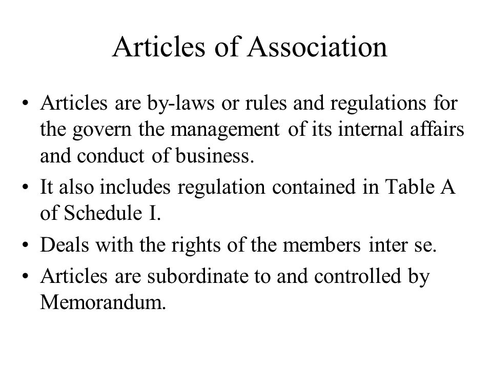 Articles of Association