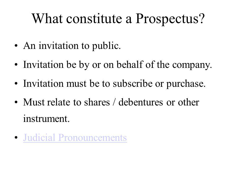 What constitute a Prospectus