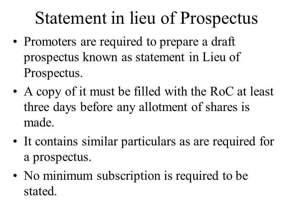 Statement in lieu of Prospectus