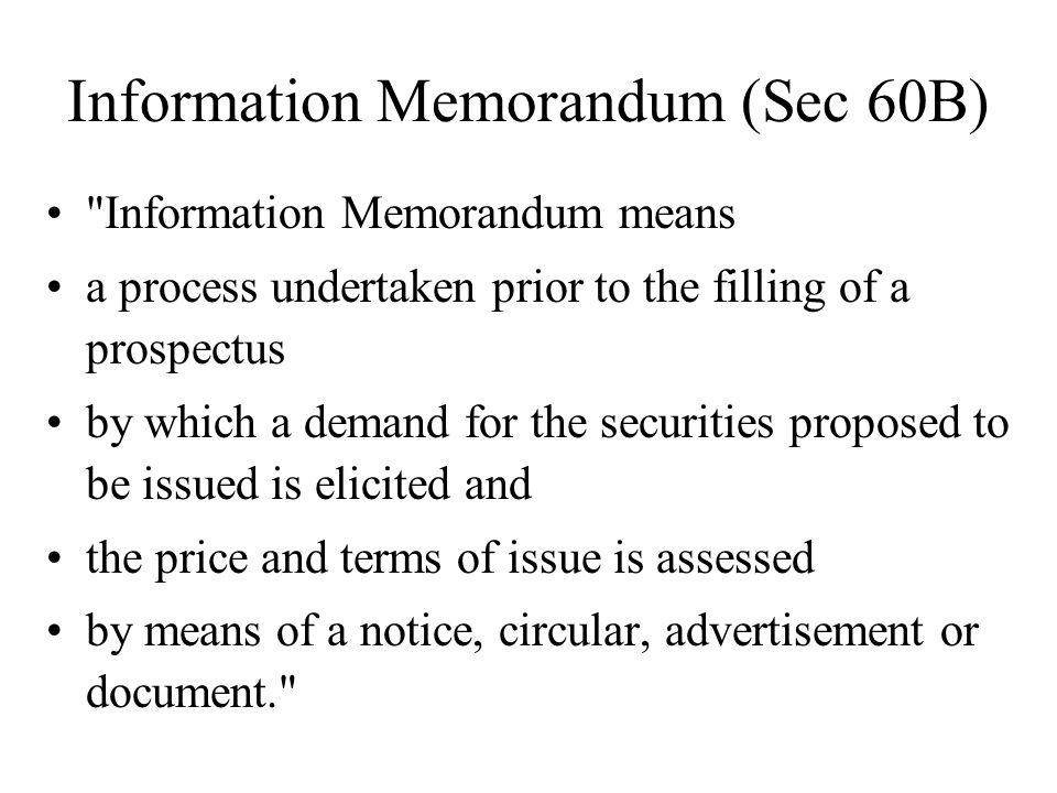 Information Memorandum (Sec 60B)