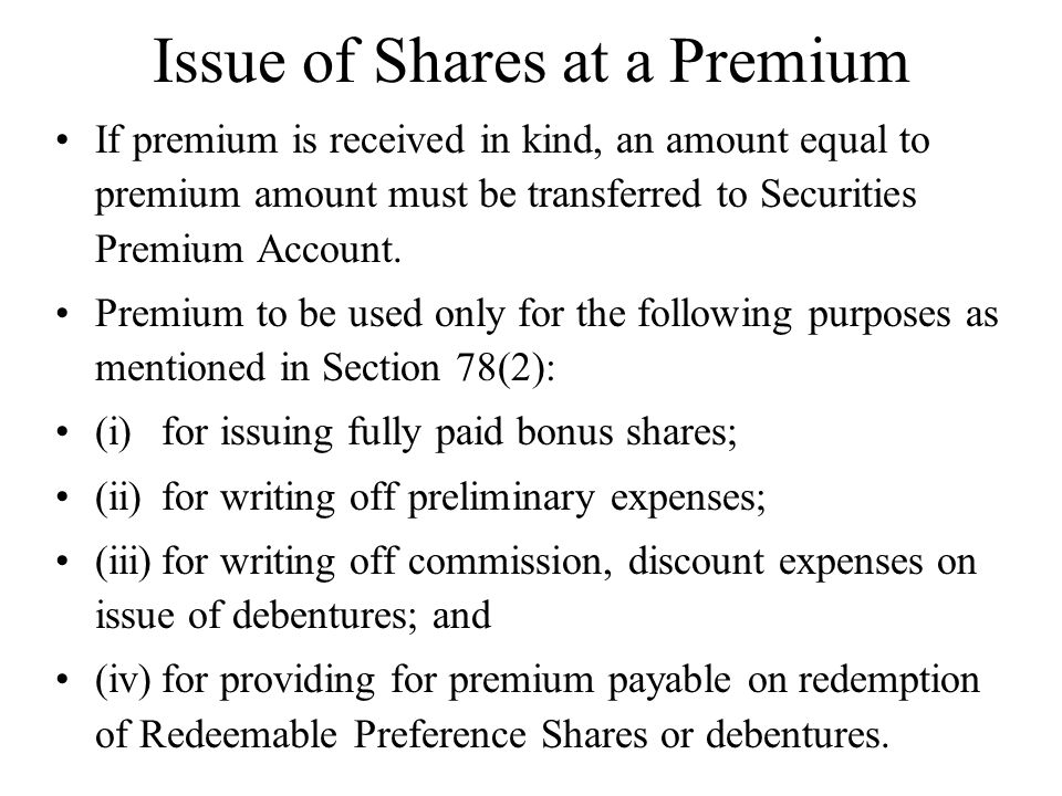Issue of Shares at a Premium