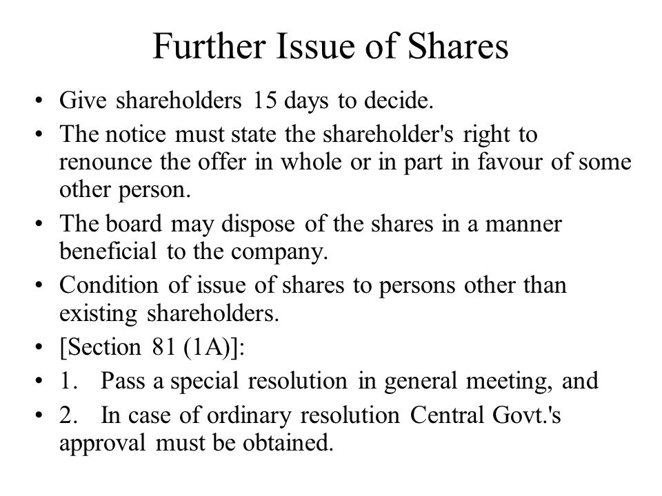 Further Issue of Shares