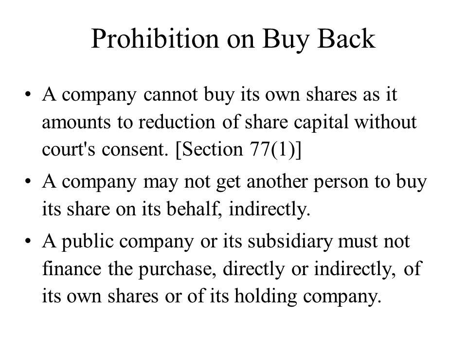 Prohibition on Buy Back