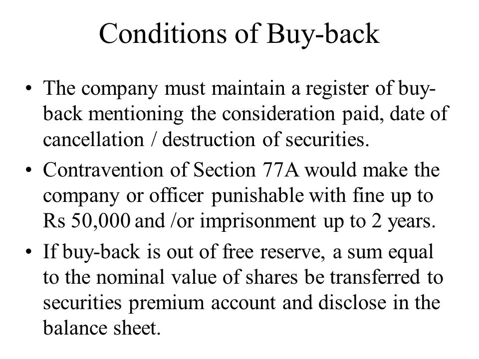 Conditions of Buy-back