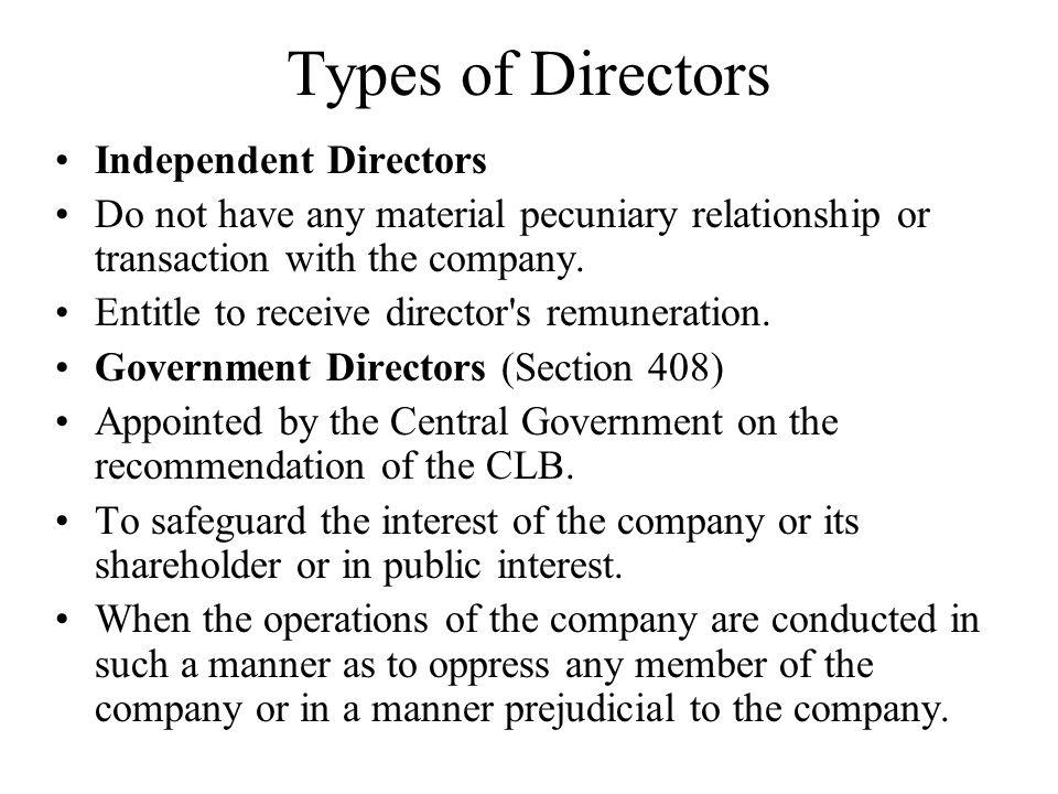 Types of Directors Independent Directors