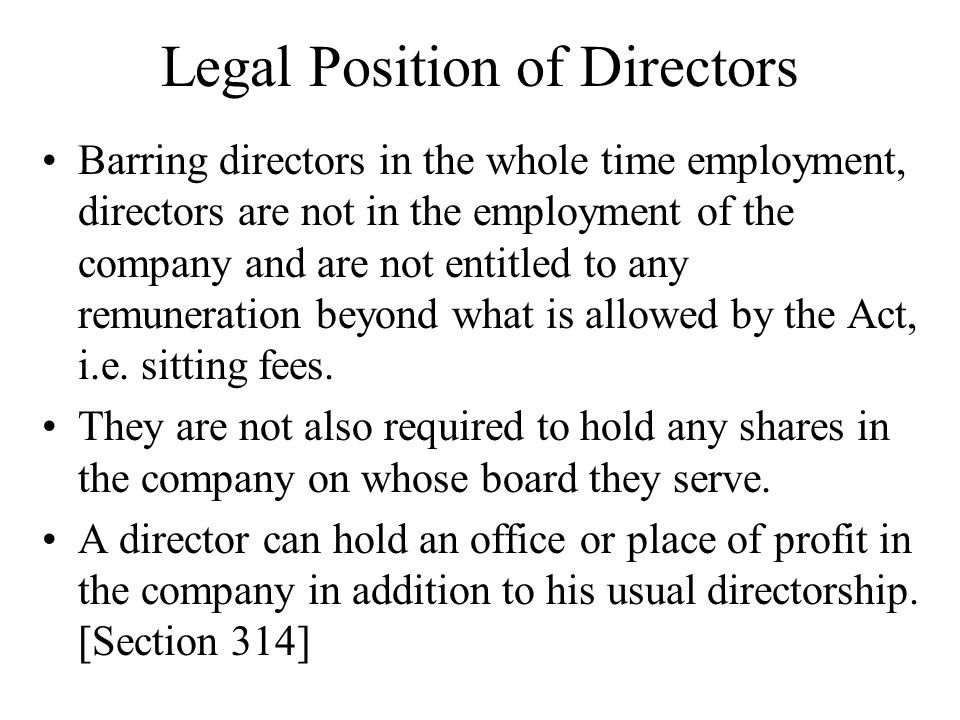 Legal Position of Directors