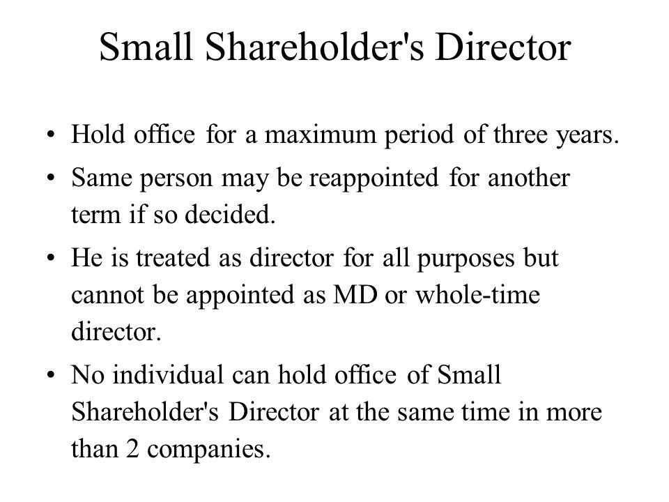 Small Shareholder s Director