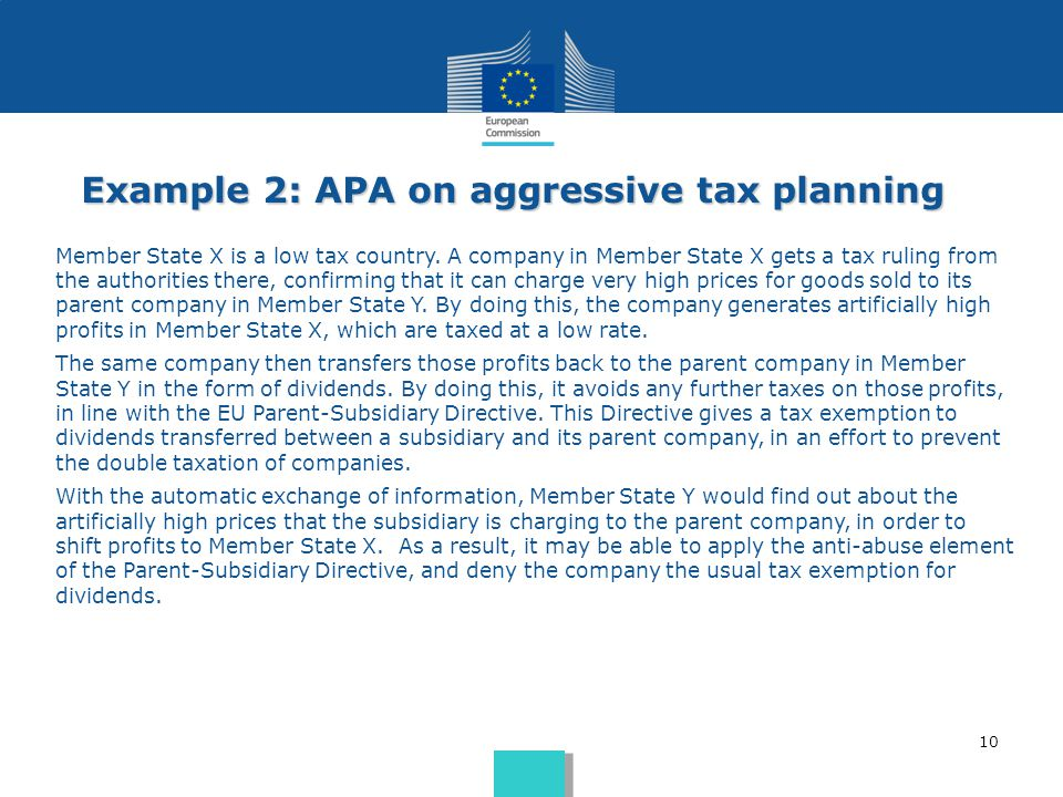 Example 2: APA on aggressive tax planning