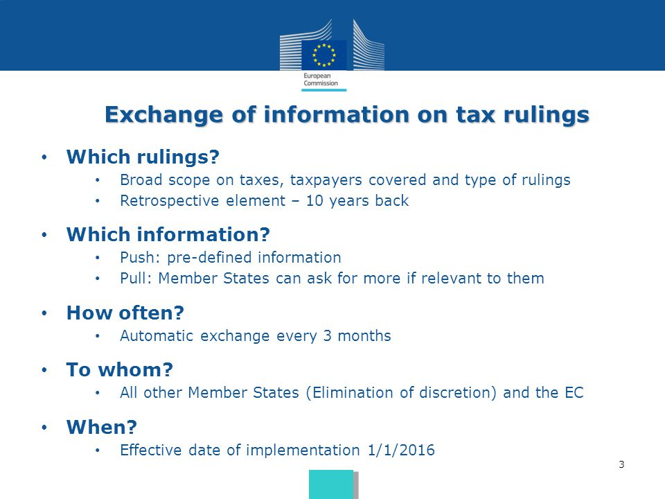 Exchange of information on tax rulings