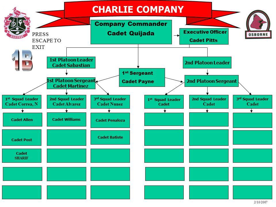 1B CHARLIE COMPANY Company Commander Cadet Quijada