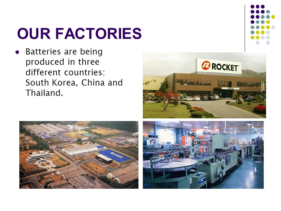 OUR FACTORIES Batteries are being produced in three different countries: South Korea, China and Thailand.