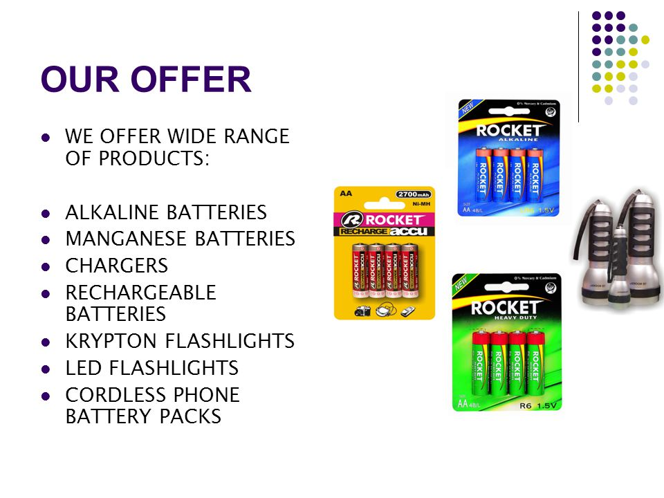 OUR OFFER WE OFFER WIDE RANGE OF PRODUCTS: ALKALINE BATTERIES