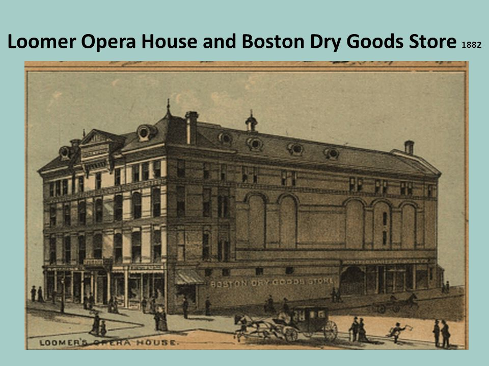 Loomer Opera House and Boston Dry Goods Store 1882