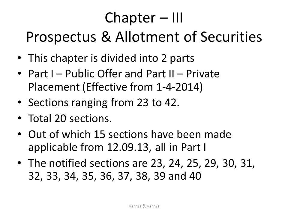 Chapter – III Prospectus & Allotment of Securities