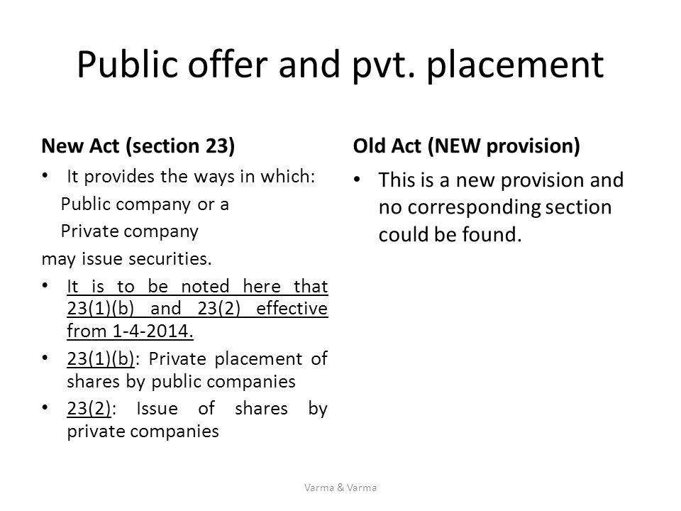 Public offer and pvt. placement