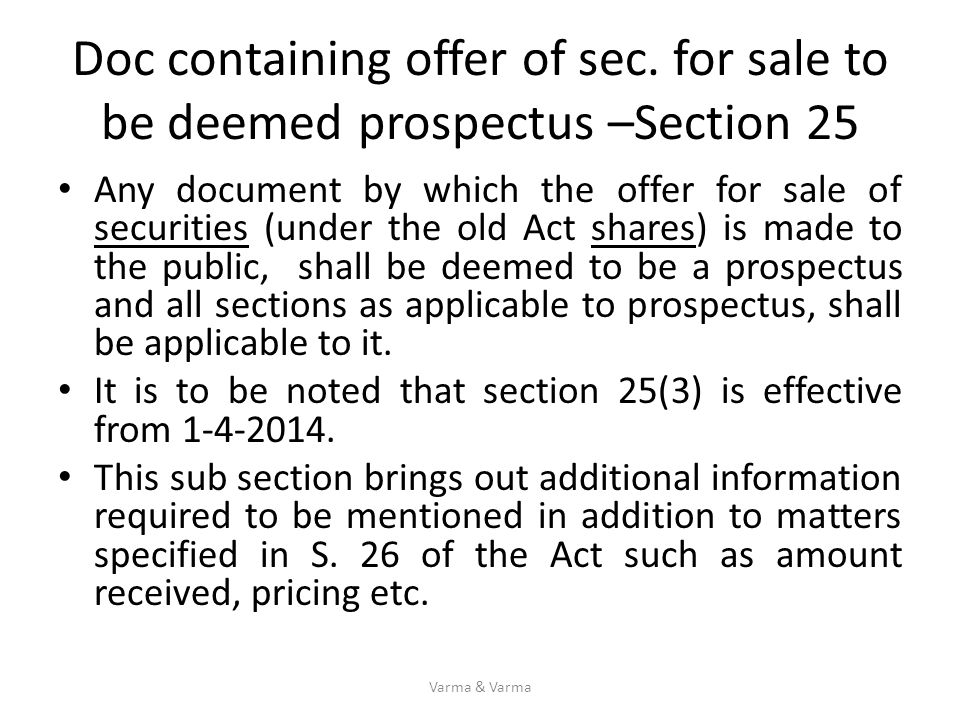 Doc containing offer of sec