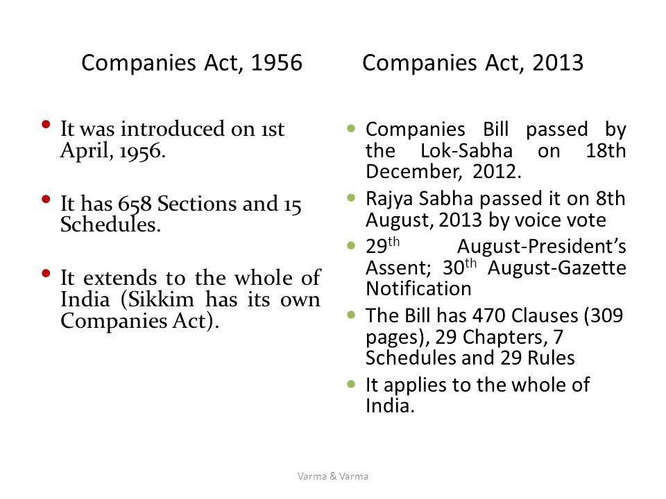 Companies Act, 1956 Companies Act, 2013
