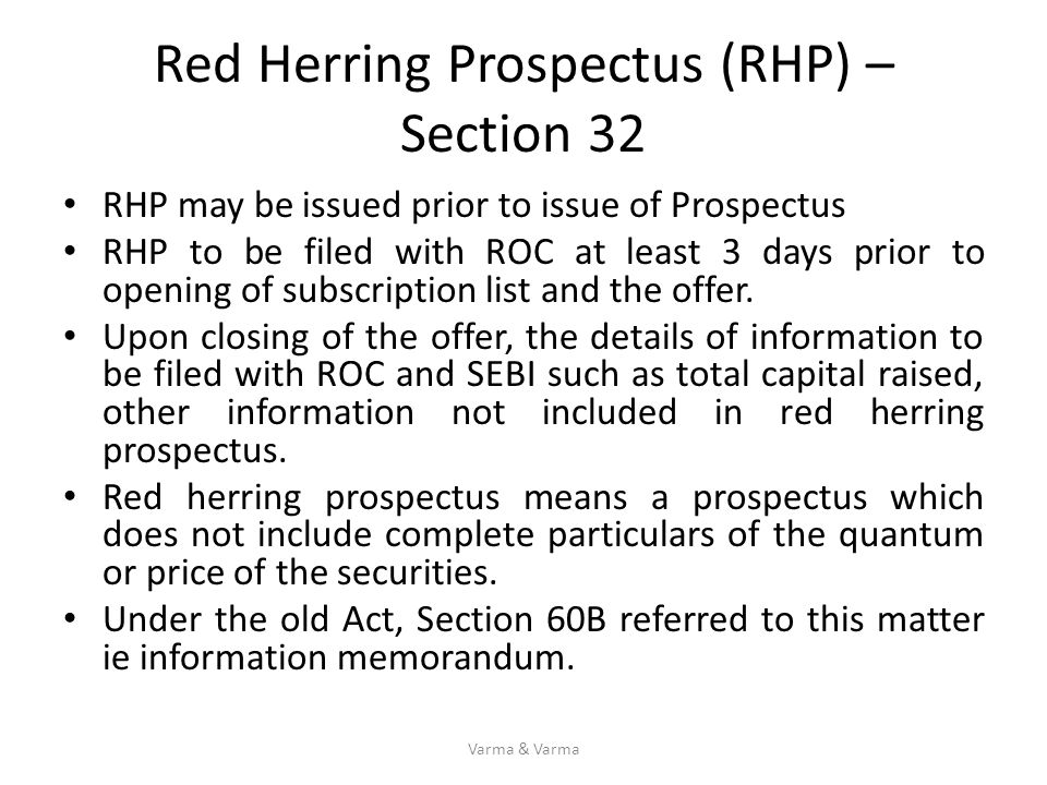Red Herring Prospectus (RHP) – Section 32