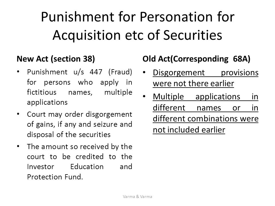 Punishment for Personation for Acquisition etc of Securities