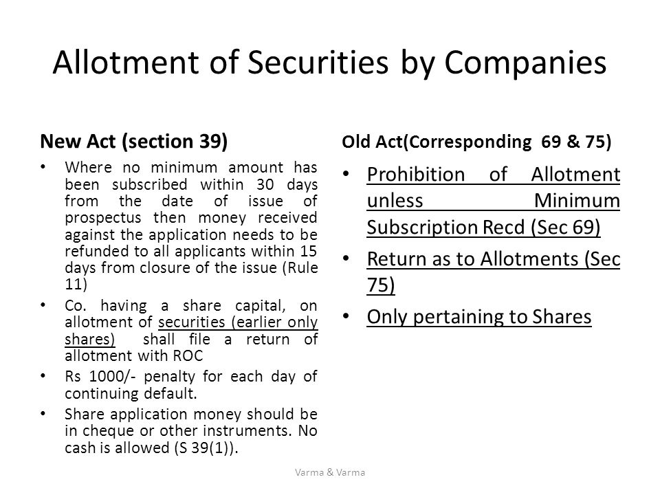 Allotment of Securities by Companies