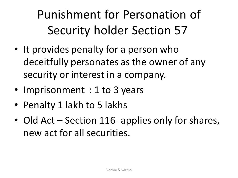 Punishment for Personation of Security holder Section 57