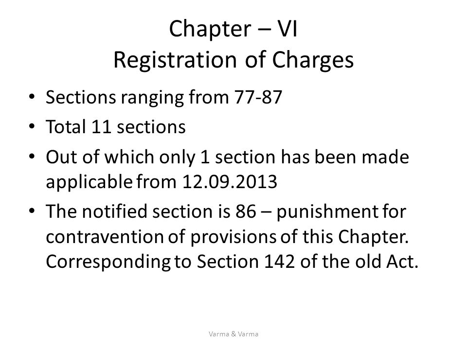 Chapter – VI Registration of Charges