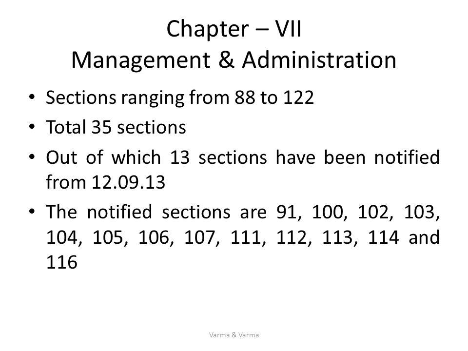 Chapter – VII Management & Administration