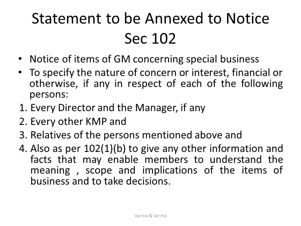 Statement to be Annexed to Notice Sec 102
