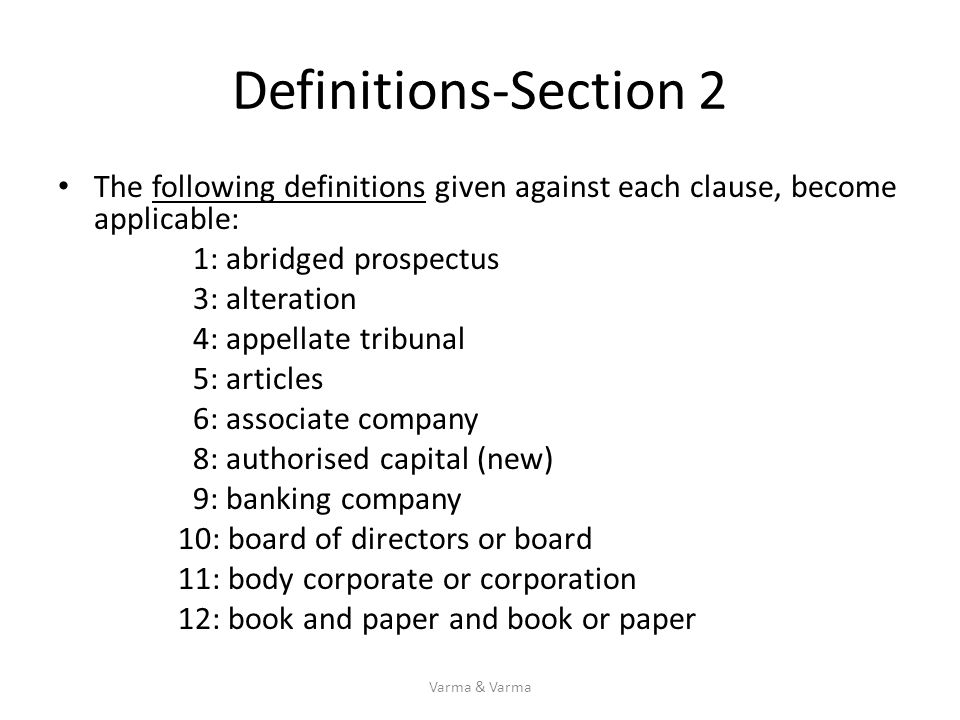 Definitions-Section 2 The following definitions given against each clause, become applicable: 1: abridged prospectus.