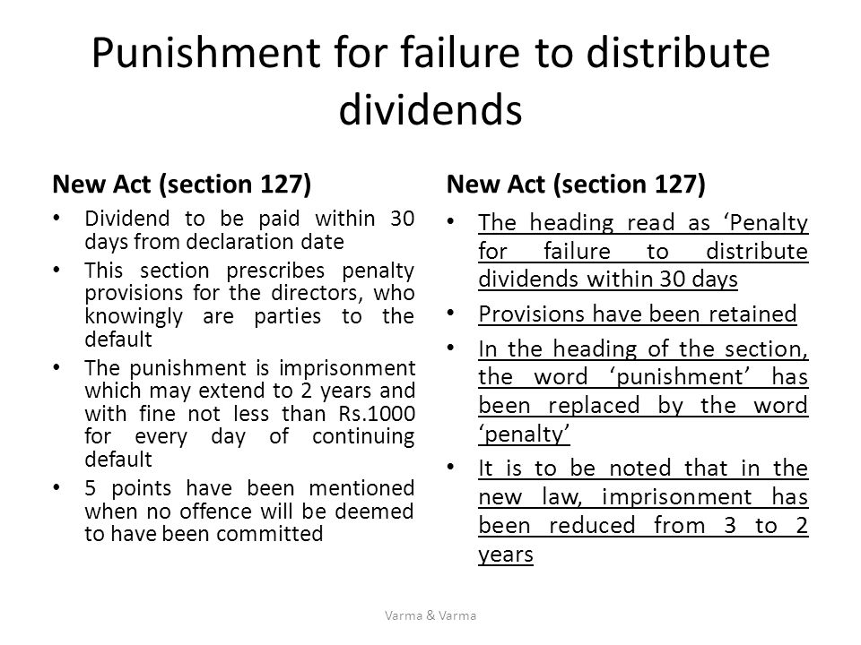 Punishment for failure to distribute dividends