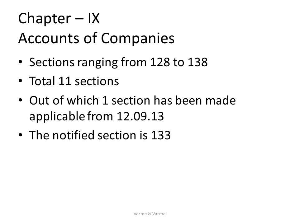 Chapter – IX Accounts of Companies