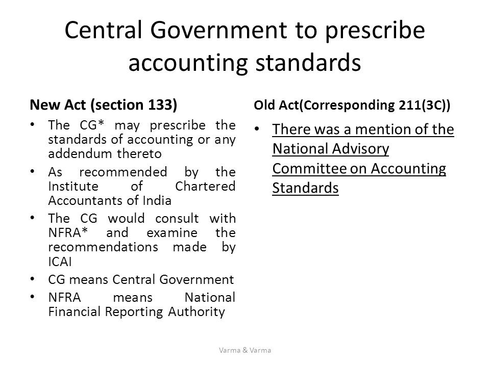 Central Government to prescribe accounting standards