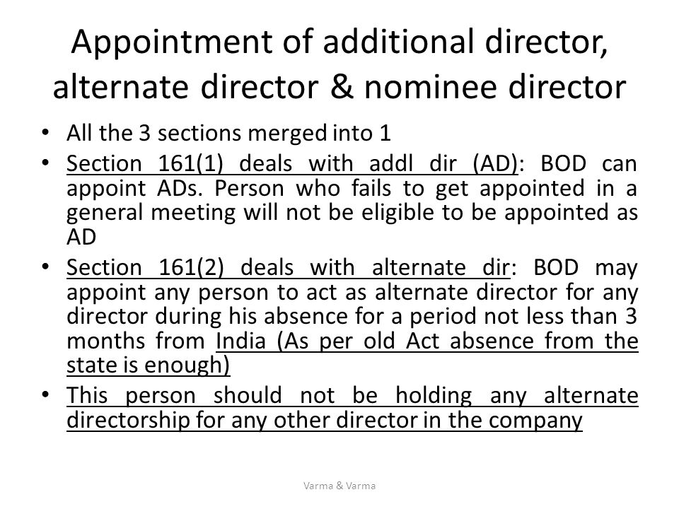 Appointment of additional director, alternate director & nominee director