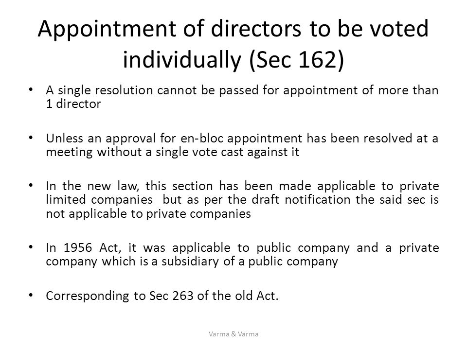 Appointment of directors to be voted individually (Sec 162)