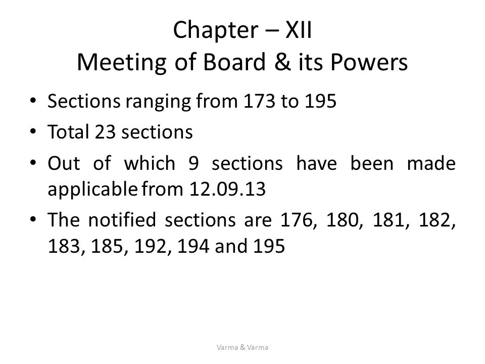 Chapter – XII Meeting of Board & its Powers