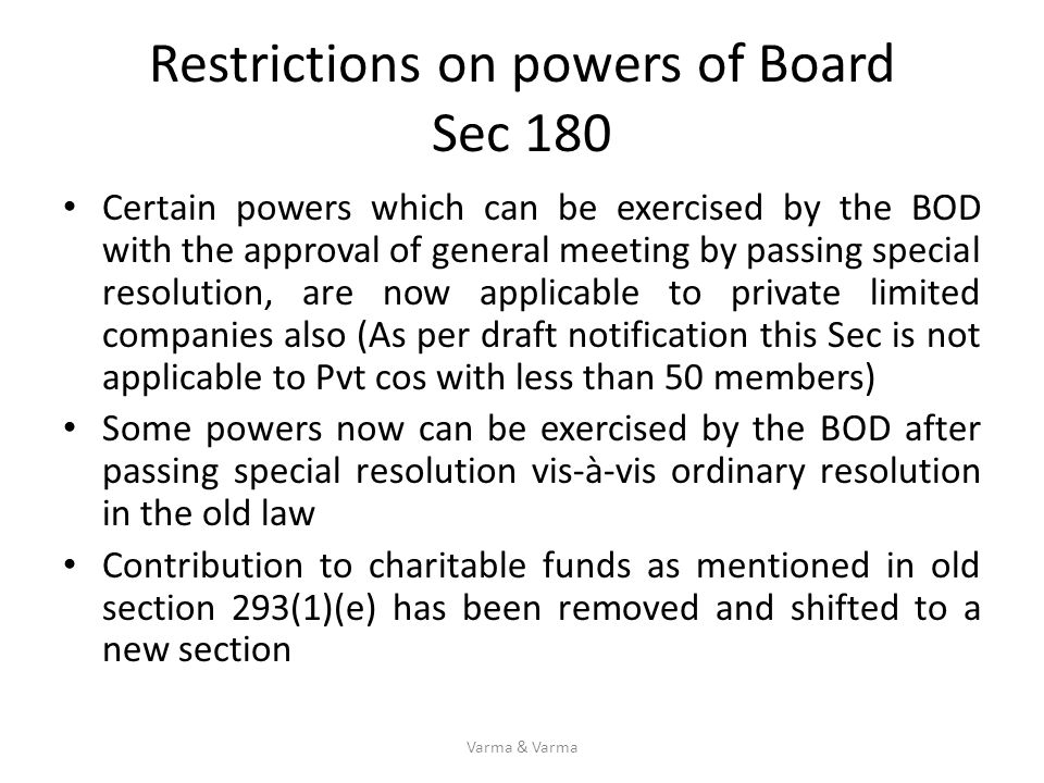 Restrictions on powers of Board Sec 180