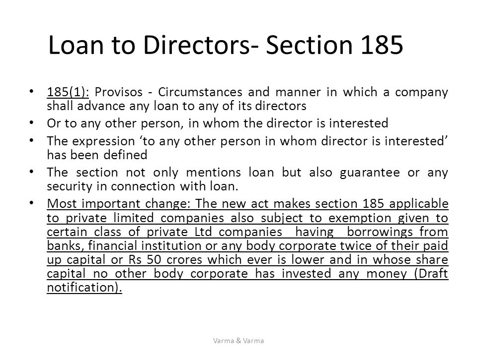 Loan to Directors- Section 185