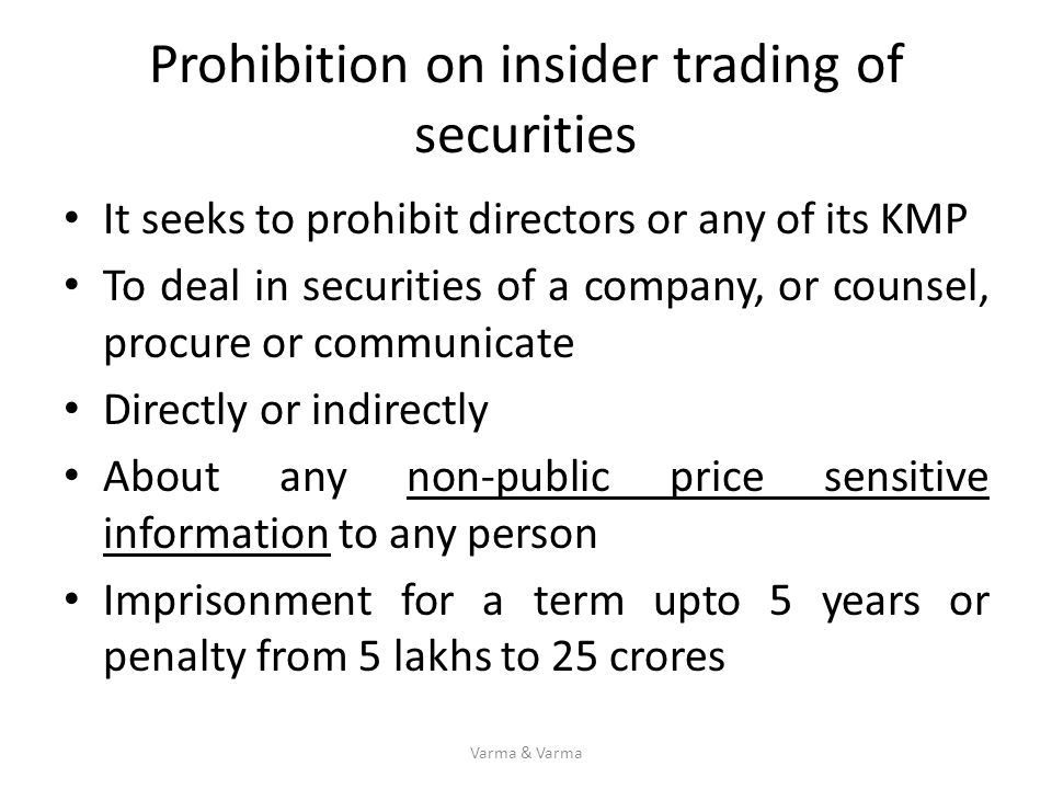 Prohibition on insider trading of securities