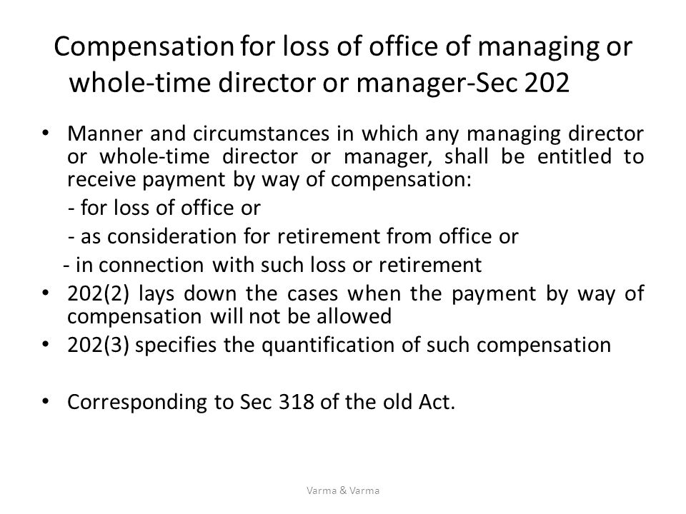 Compensation for loss of office of managing or whole-time director or manager-Sec 202