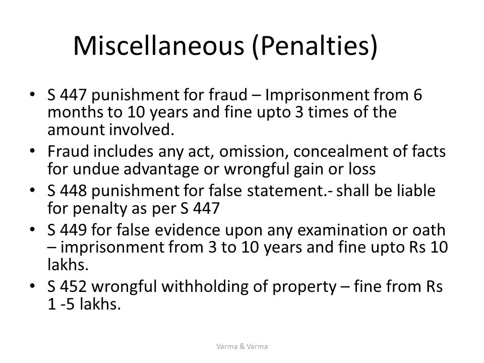 Miscellaneous (Penalties)