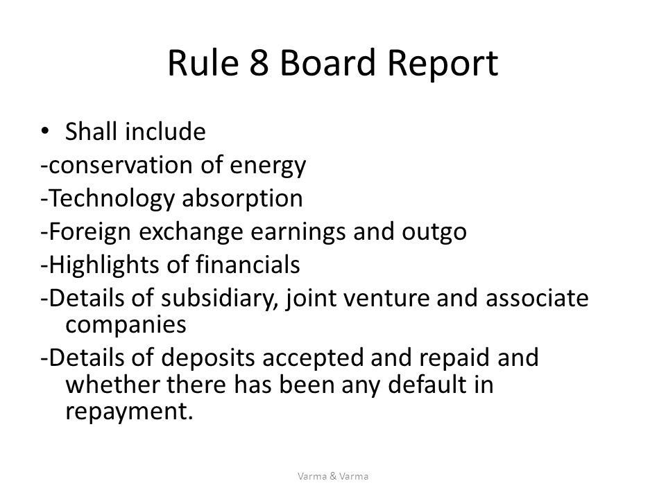 Rule 8 Board Report Shall include -conservation of energy