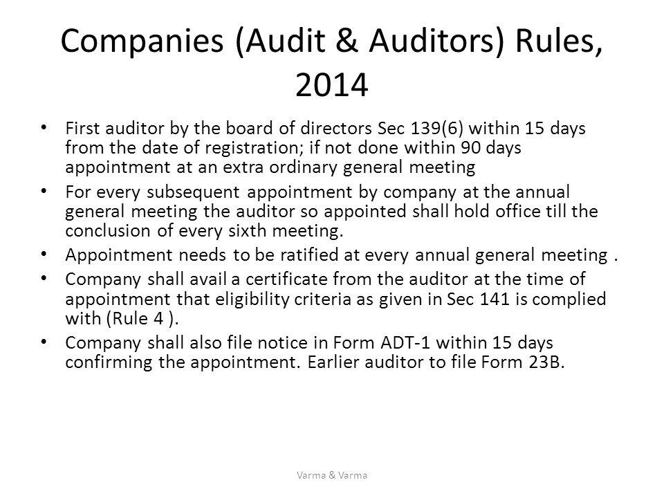 Companies (Audit & Auditors) Rules, 2014