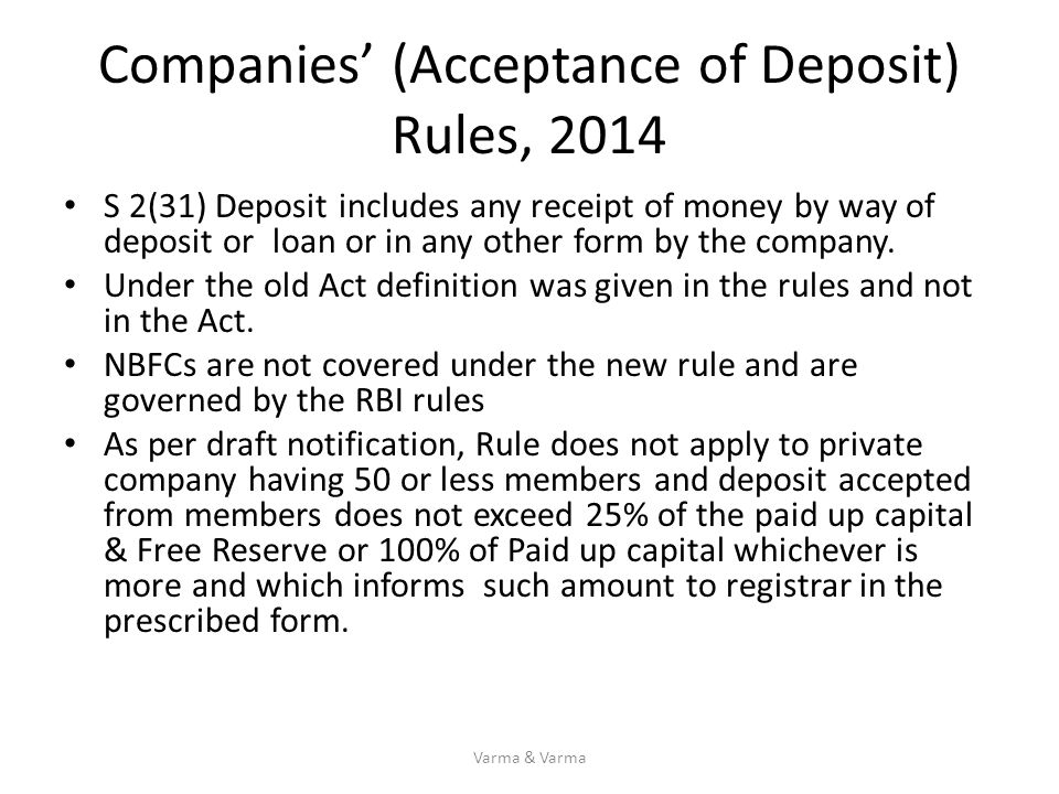 Companies' (Acceptance of Deposit) Rules, 2014