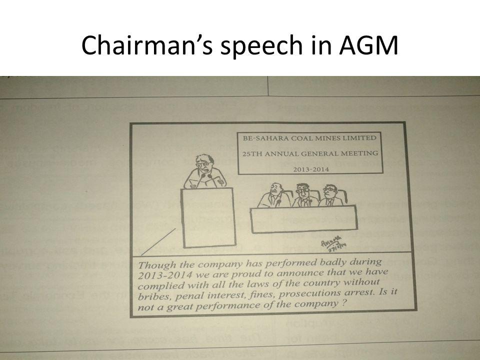 Chairman's speech in AGM