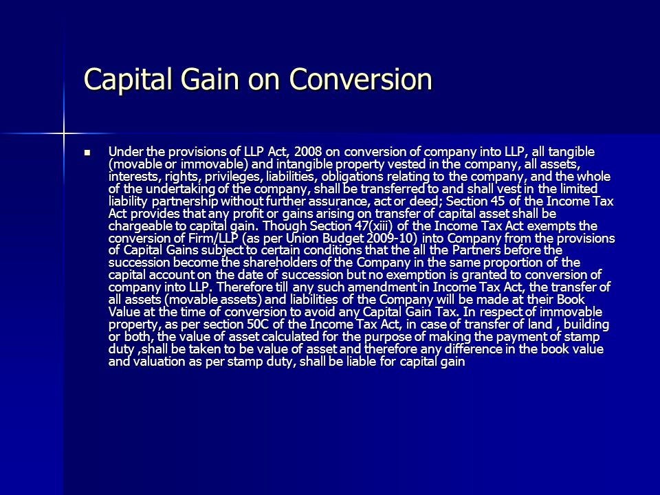 Capital Gain on Conversion