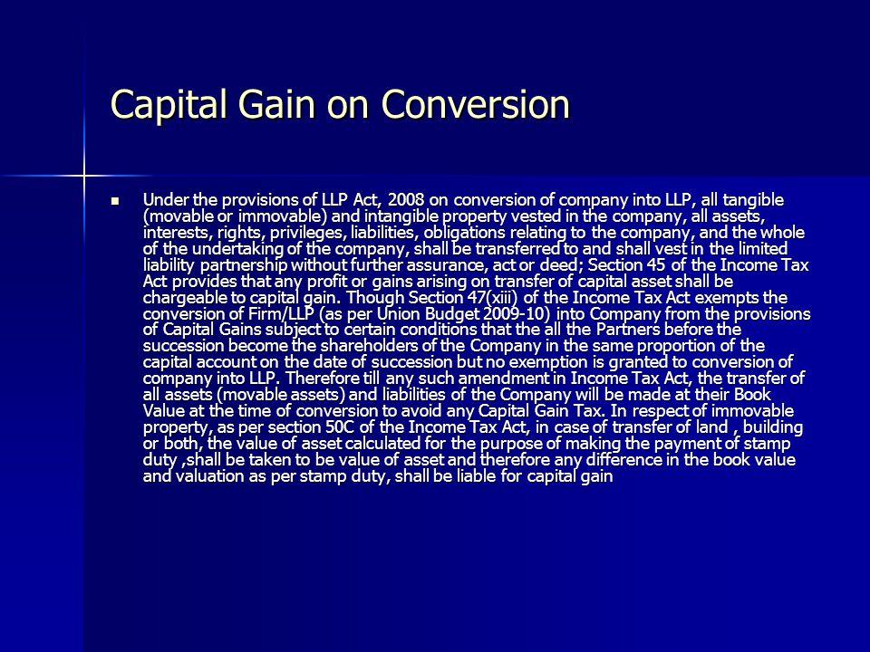 Capital Gain on Conversion