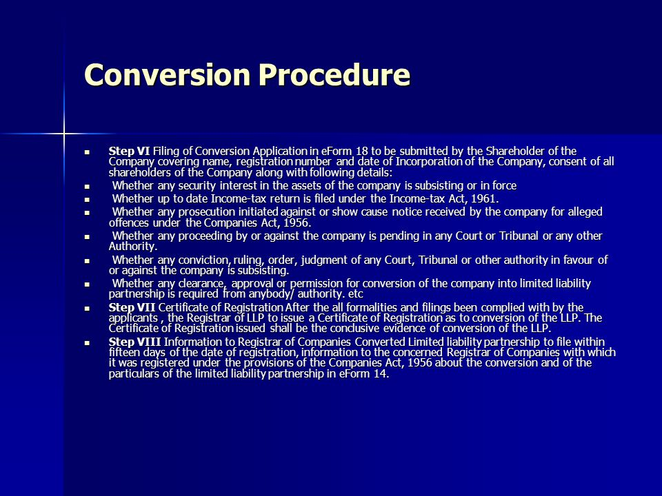 Conversion Procedure