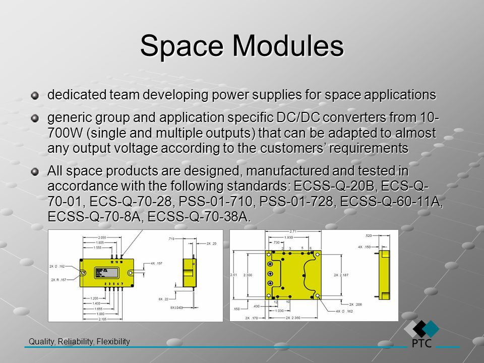 Space Modules dedicated team developing power supplies for space applications.